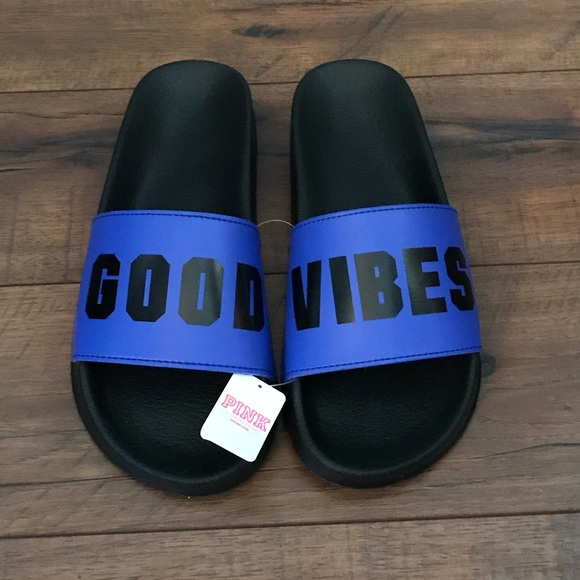 4126b5df9e40 💥NEW Victorias Secret PINK blue slide sandals